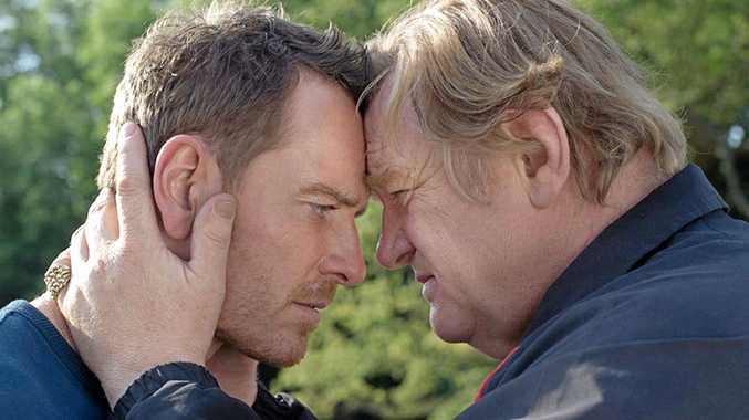 Michael Fassbender and Brendan Gleeson in a scene from the movie Trespass Against Us.