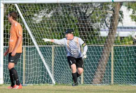 Glenn Gilmour (Emerald) in the soccer game between Frechville and Emerald at Ryan Park on Saturday.