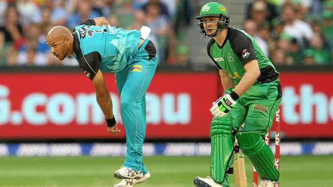Tymal Mills bowling for the Brisbane Heat in the Big Bash League.