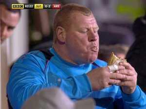 Sutton meets FA Cup end as goalkeeper devours pie