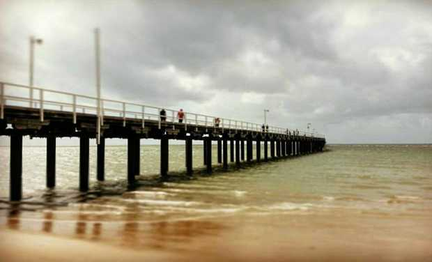 The Urangan PIer on a cloudy day.
