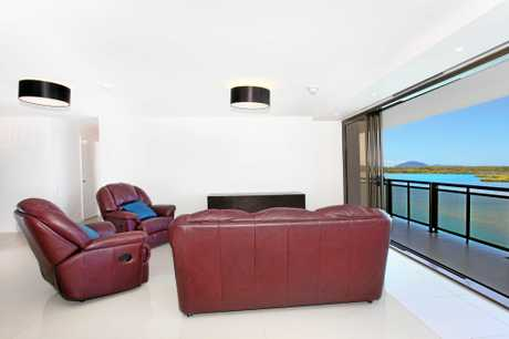 The lounge at unit 10BC Trafalgar Towers, Maroochydore, which is for sale for $1.08 million.