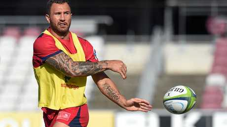 Queensland Reds player Quade Cooper in action during training in Brisbane