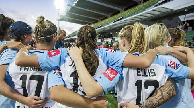 Melbourne City celebrate their W-League final win over  the Perth Glory