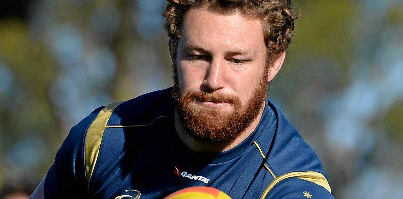 Scott Higginbotham takes part in a Wallabies training session in 2014.