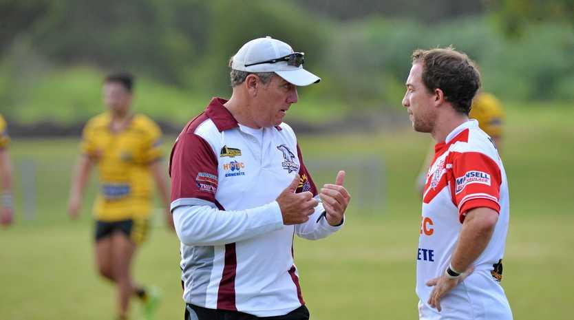Caloundra against Kawana Rugby League match. Kawana's Paul Cohen with coach Rob Brough  Photo: Warren Lynam / Sunshine Coast Daily
