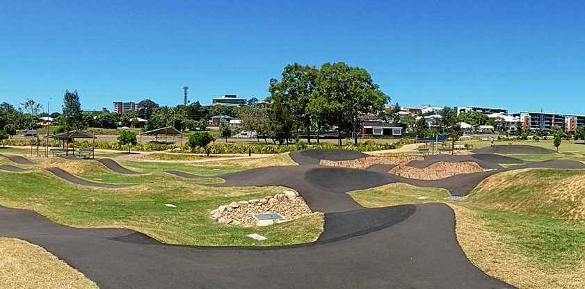PUMPED UP: A photo of a pump track at Gladstone, popular with skateboarders and BMX riders.