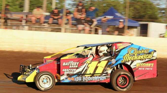 Grafton speedway driver Nick Knott broke through for his first V8 Dirt Modifieds feature victory on home soil recently.