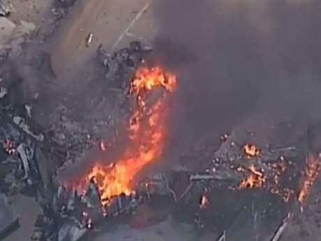 Plane crashes into Essendon DFO shops near airport. Picture: 7 News