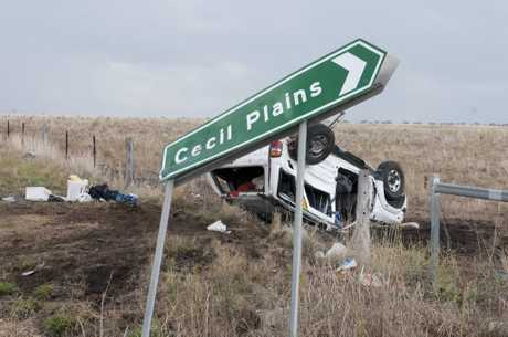 A shot from a crash at Toowoomba Cecil Plains Rd in December 2014.