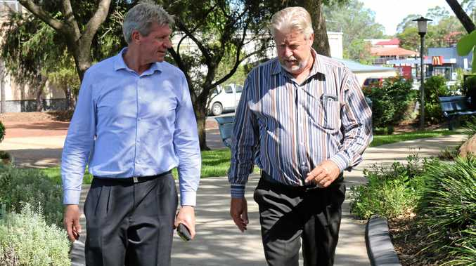 Jim McDonald won the pre-selection to run for the LNP in the seat of Lockyer at the next state election. Pictured is Jim McDonald and current Lockyer MP Ian Rickuss who will retire at the next state election.