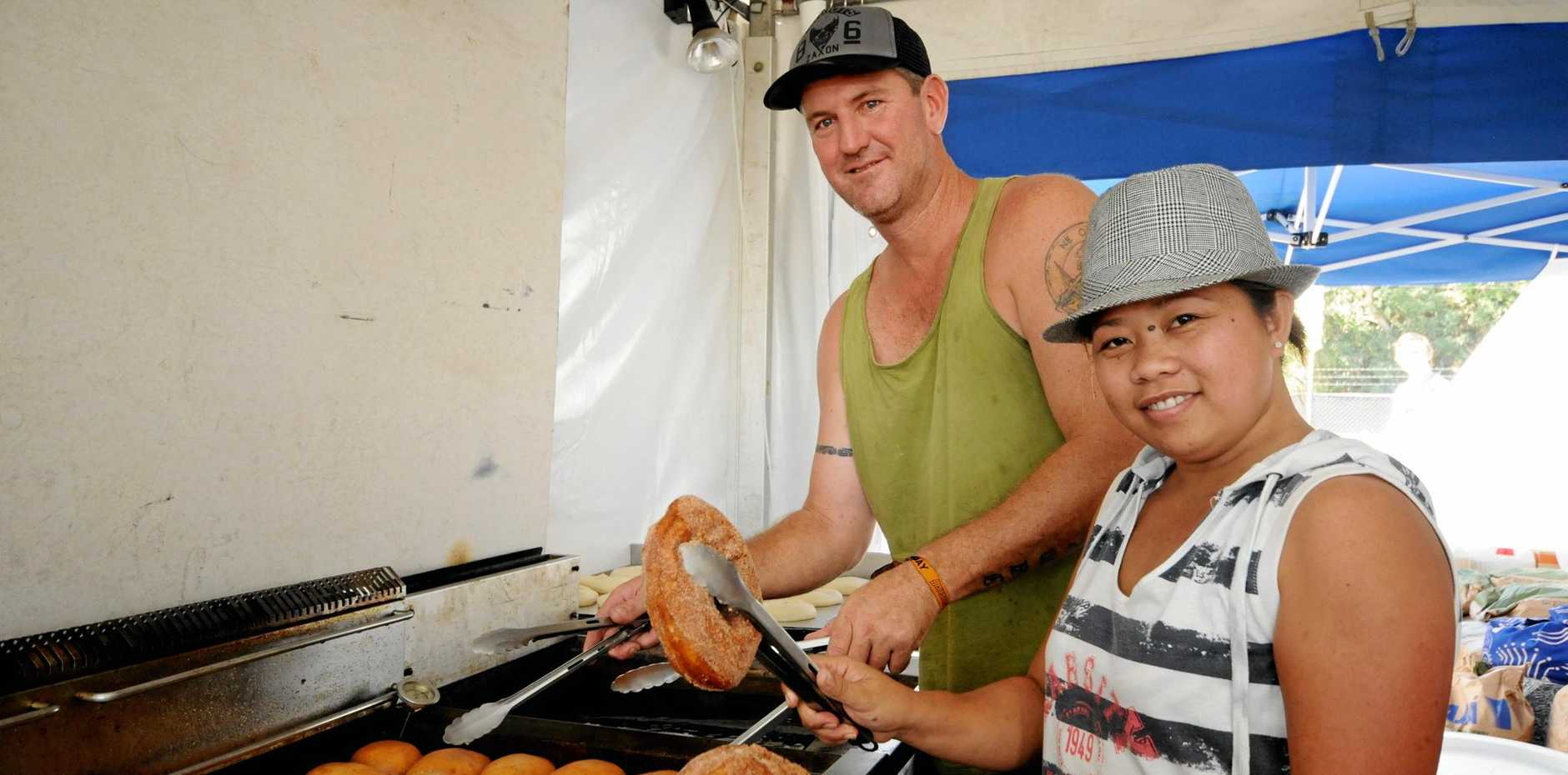 Myra Hargreaves Co owner of Byron Bay organic doughnuts, with Scott Graham.