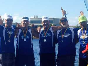 OUTRIGGER CHAMPS: Geoff Harrison, Ashley Kennedy, Mark Bell, Peter Chamberlain and Henri Mauri at the Golden Masters.