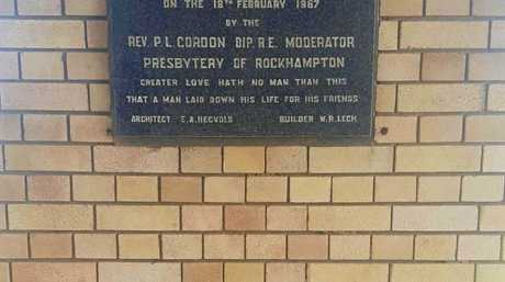 Plaques found at Beaman Park commemorate the opening and dedication of St Andrew's Presbyterian War Memorial Church.