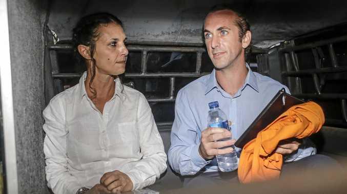 Australian Sara Connor and her British boyfriend David Taylor  (AAP Image/Johannes Christo)