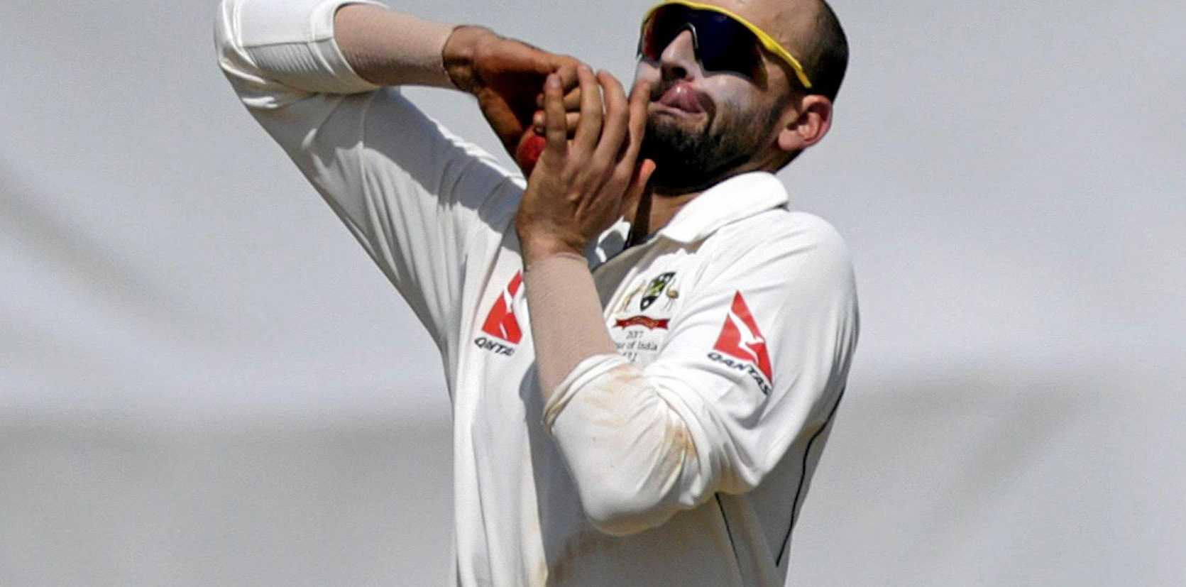 Australia's Nathan Lyon bowls during a practice match against India A in Mumbai.