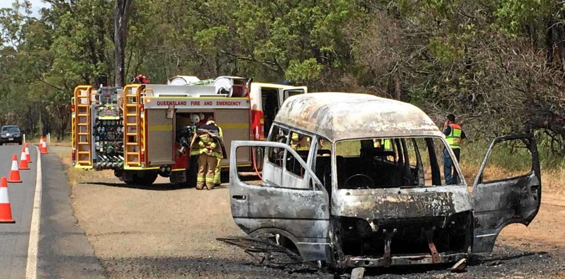 TOAST: A minibus burnt out on Goodwood Rd near Leonardis Rd, south of Bundaberg.
