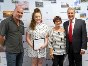 Hands On bursary recipient Bethany Cordwell is congratulated by Artspace Foundation director Brad Short (left), judge Leonie Wood and Mackay Mayor Greg Williamson on Wednesday.