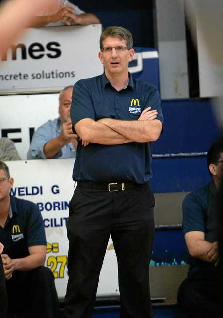 Rockets coach Neal Tweedy in the QBL basketball game against South West Metro at Hegvold Stadium on Saturday night.  Photo: Chris Ison / The Morning Bulletin