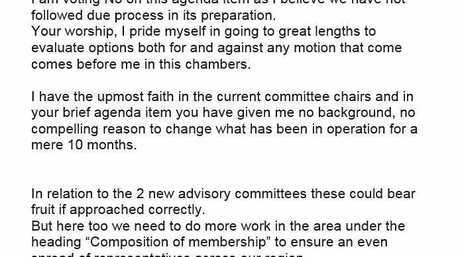 The prepared speech by Mackay region councillor Laurence Bonaventura.