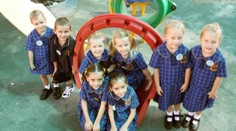 South Grafton Public School Kindergarten twins, from L-R, are: Sophi and Izac Gaddes, Bessie and Molly Dungey, Brianna and Taury Carney, and Hannah and Erin Blundell (front). All the twins are five years of age and simply couldn't wipe the smiles off their faces. They said they