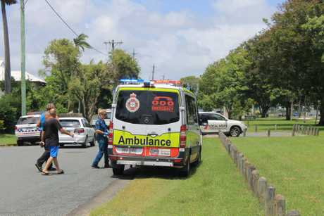 It's thought two men have been taken to hospital after a fire broke out in the backyard of a home on the corner of Bassett and Vine Streets, North Mackay.