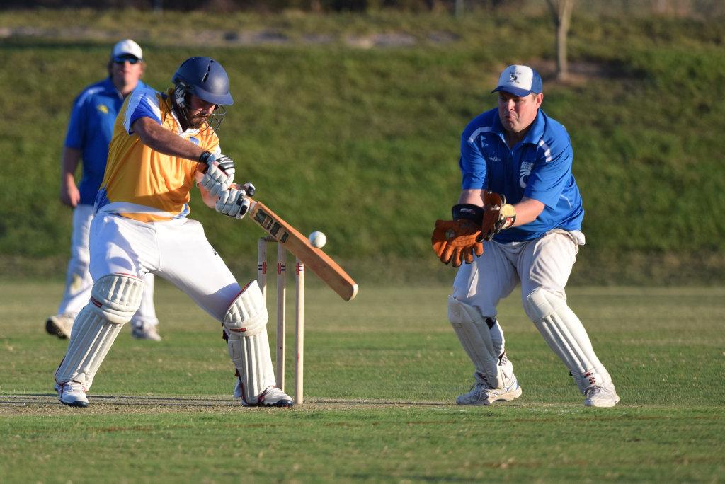 David Angus-Crouch plays to the offside for Sawtell in the CHDCA Twenty20 final against Nana Glen. cricket 23 February 2017 Coffs Coast Sport and Leisure Park Photo: Brad Greenshields/Coffs Coast Advocate