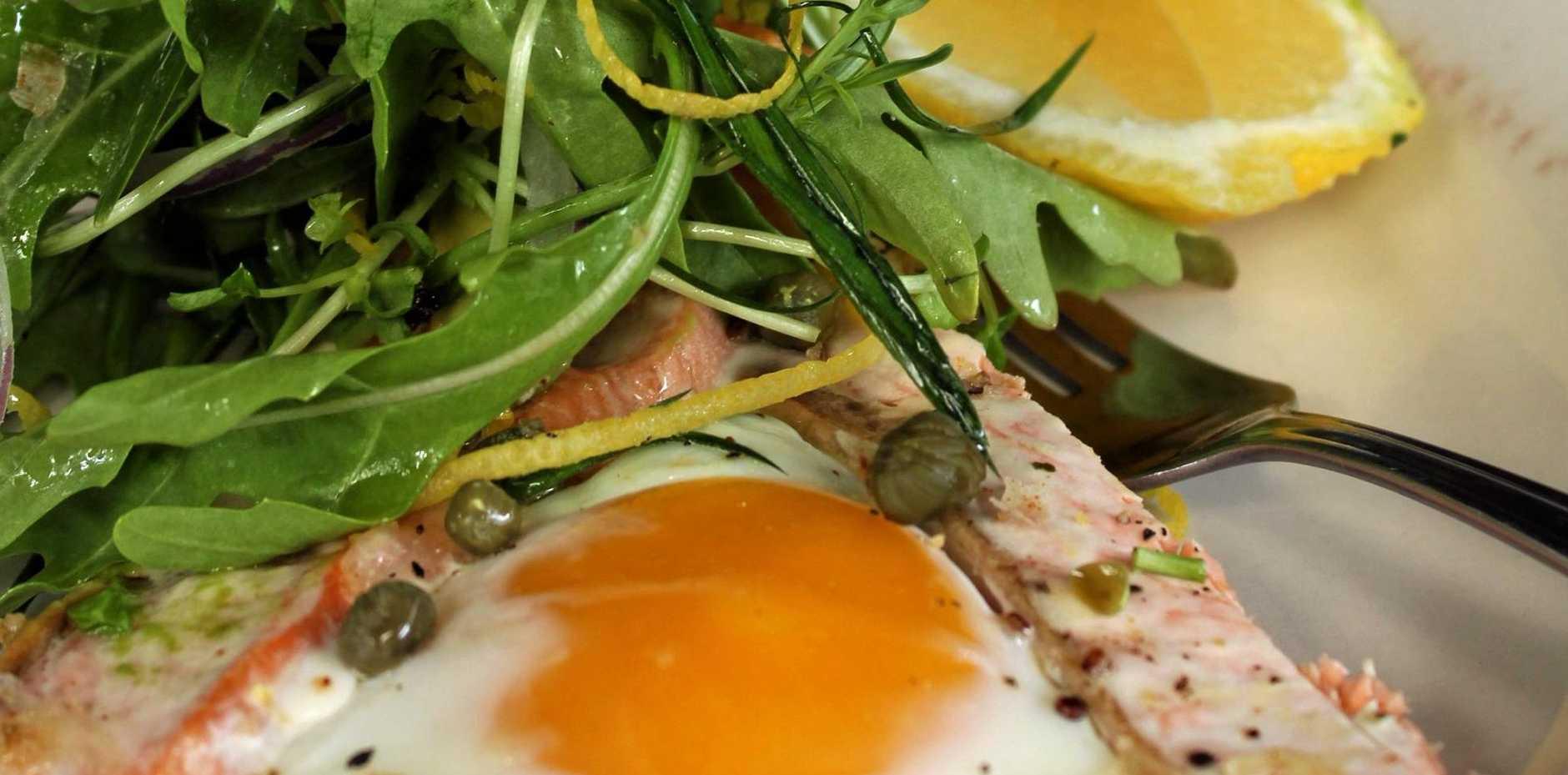 Stovetop breakfast quinoa, salmon and egg tart.