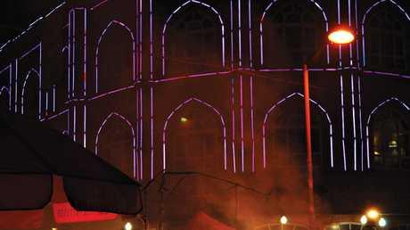 The technicolour lights in Kashgar.