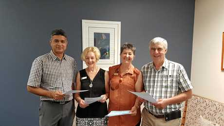 RAISING AWARENESS: Zia Ansari, Jenny Banks, Wendy Logan and Bill Boyd will help to answer questions about ovarian cancer during an Afternoon Teal event on Sunday.