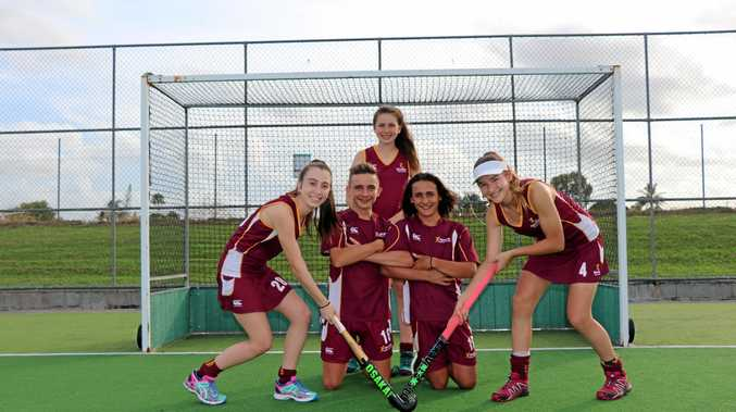 ON THEIR WAY: Mackay rep players, Claire Colwill (back) and (front from left) Keeley Walker, Logan Templeton, Noah Gauci and Jordan Bliss.