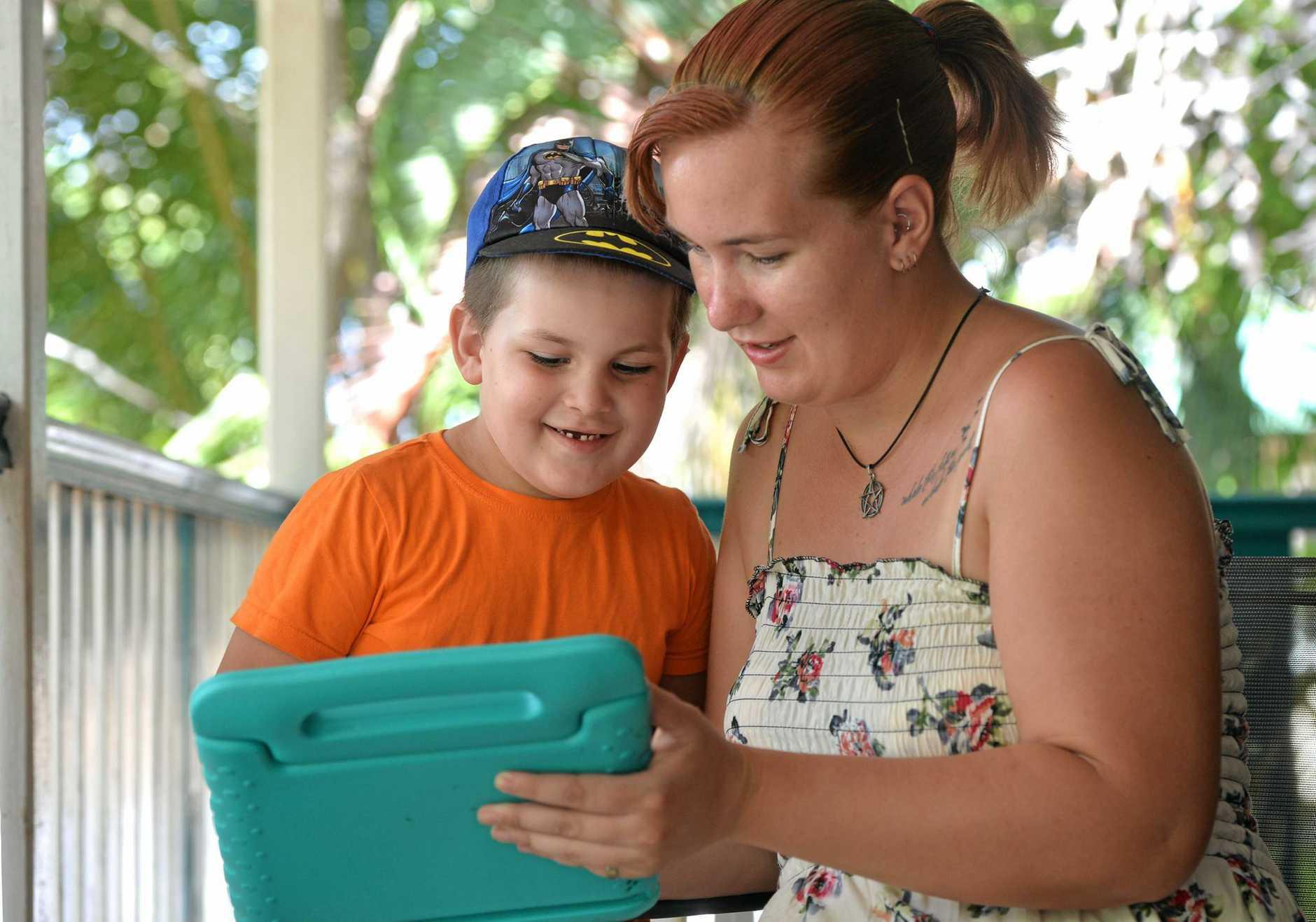 Tori Brooks and her son Travis.
