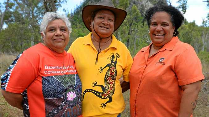 L-R Darumbal elders Aunty Nicky Hatfield, Aunty Sally Vea Vea with Kristine Hatfield near Mt Jim Crow which they hope to have renamed to its original Darumbal name of Baga.