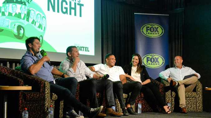 Nathan Hindmarsh, Bryan Fletcher, Justin Hodges, Yvonne Sampson and Andy Raymond on stage at Magpies talking about Fox League.
