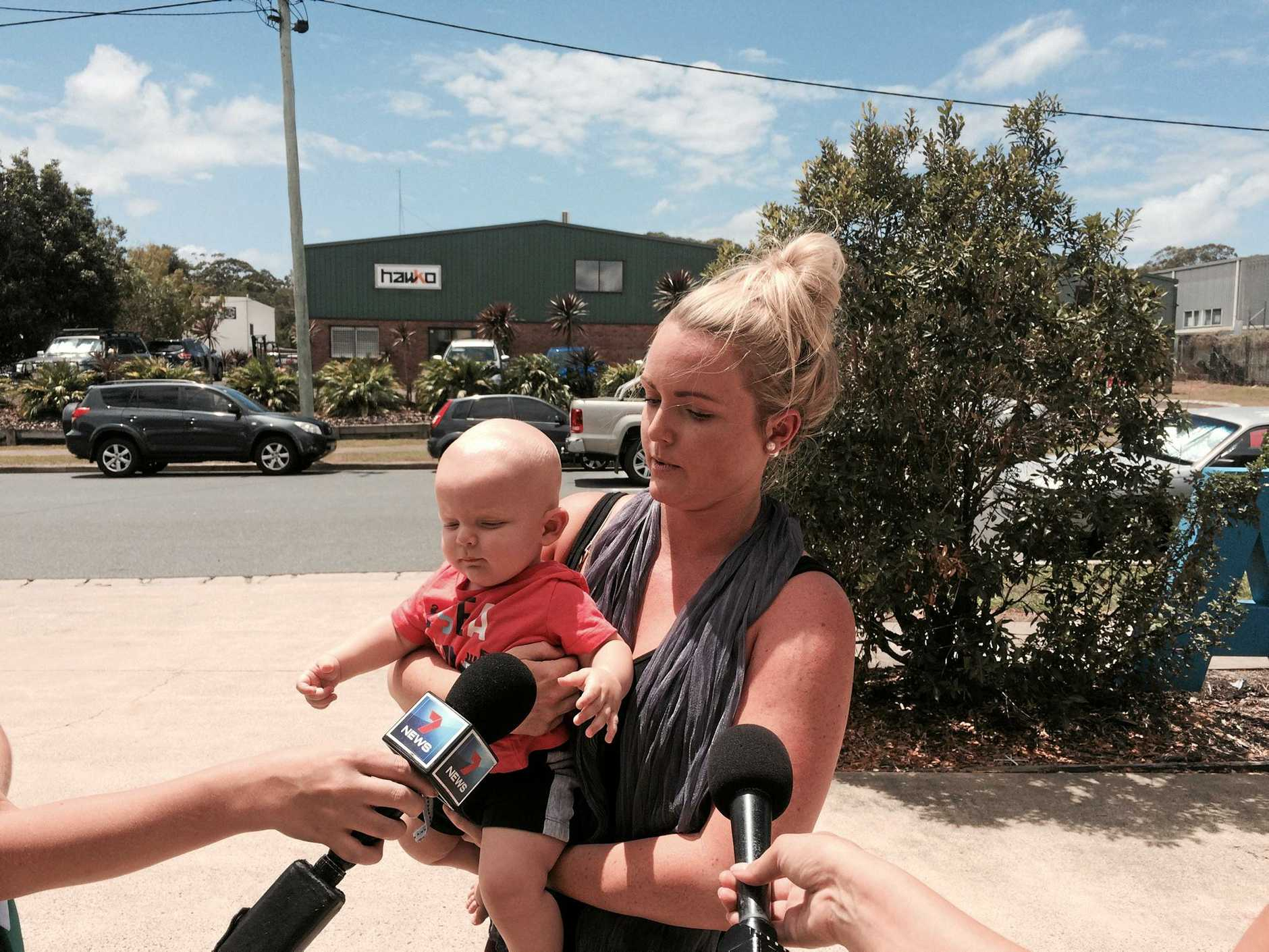 Mum Krysten Harvey breaks down as she describes how the payroll debacle affected her in a press conference.