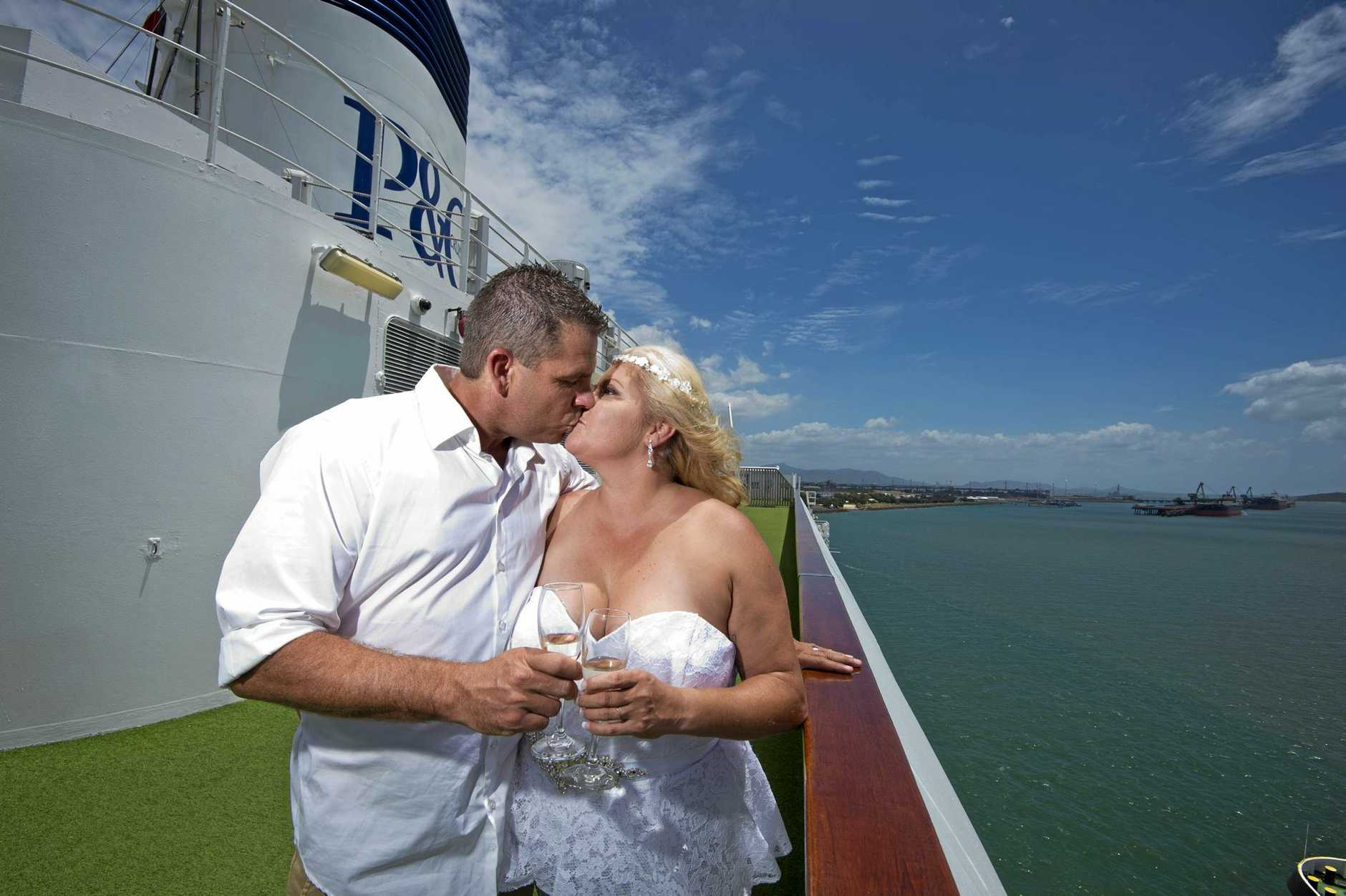 Newlyweds Matthew and Christine Moore tie the knot aboard P&O Pacific Jewel Cruise Ship in Gladstone.