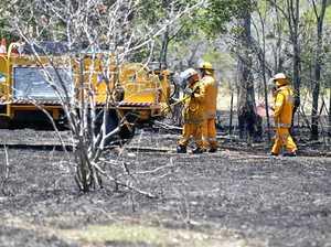 Grassfire burning west of Warwick