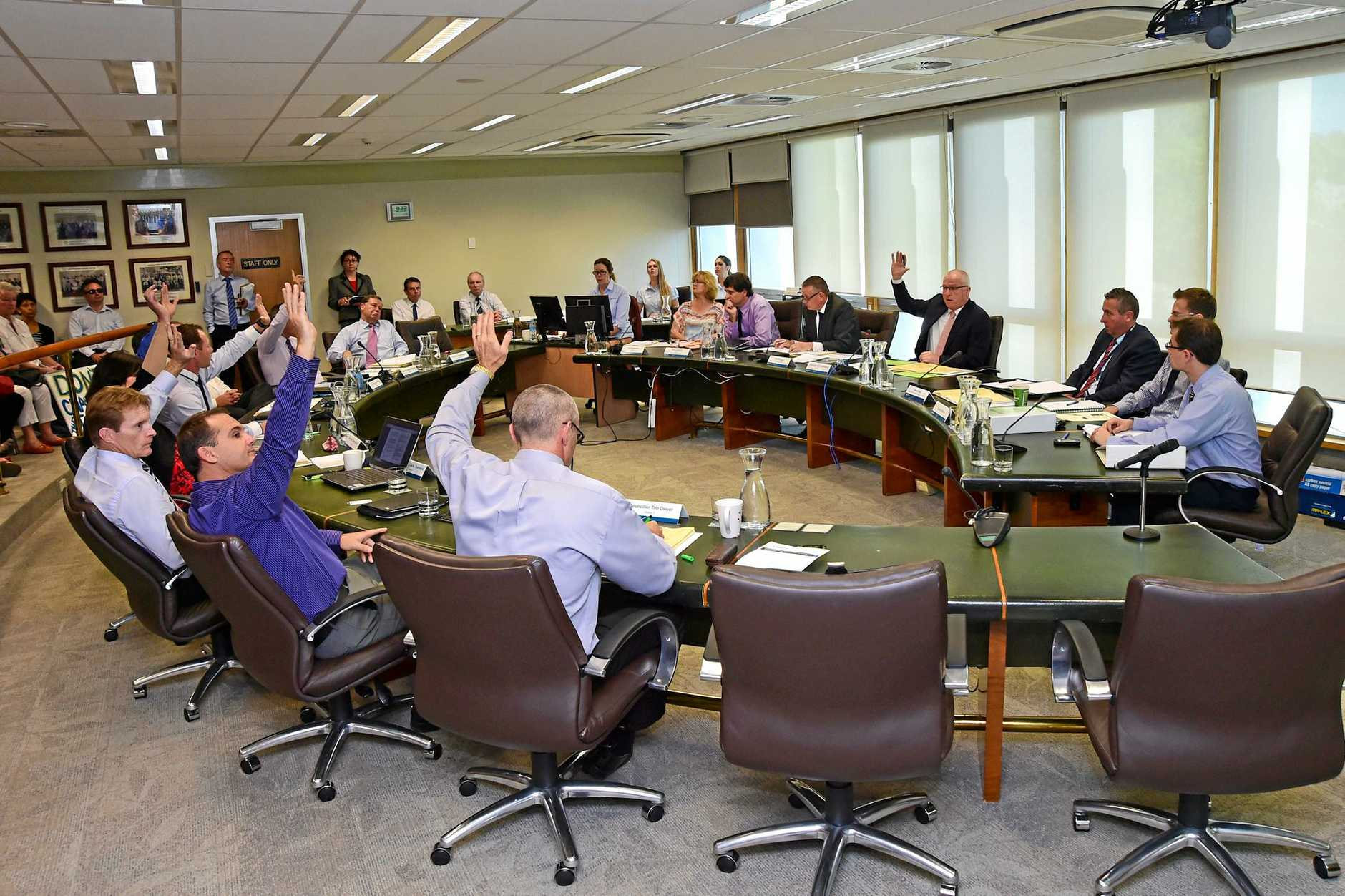 Council members inside the Nambour Council Chambers all agree, with the exception on Councillor Jason O'Pray, to defer a decision regarding the high rise Sekesui development at Yaroomba. Photo: Iain Curry / Sunshine Coast Daily