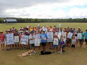 Pottsville Men's Shed supporters gather to throw their support behind the current application for building at Black Rocks.