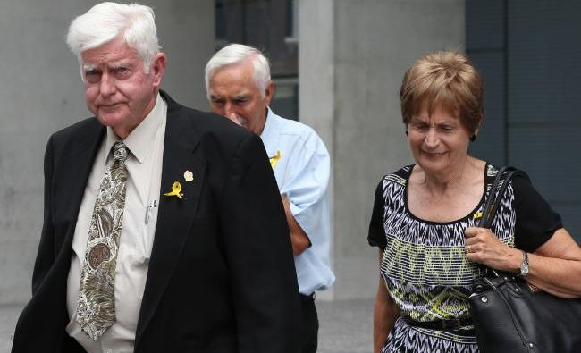 Allison Baden-Clay's parents Geoff and Priscilla Dickie outside Brisbane Supreme Court.