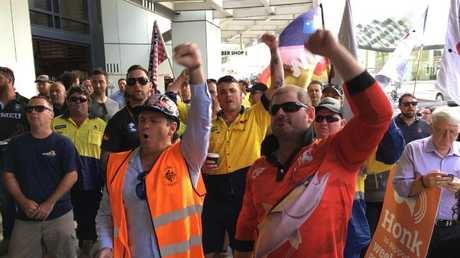 Union members protest the scrapping for Sunday penalty rates. Picture: Darren England