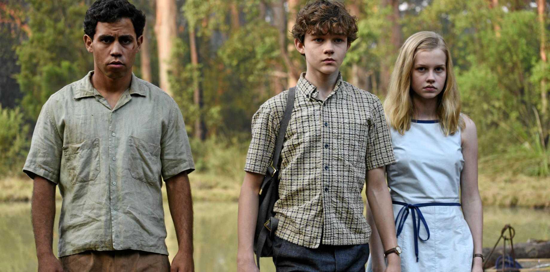 Jasper Jones (Aaron McGrath), Charlie Bucktin (Levi Miller) and Eliza Wishart (Angourie Rice) in the film Jasper Jones.