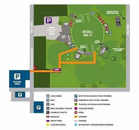 Harrup Park map for Sunday's AFL game