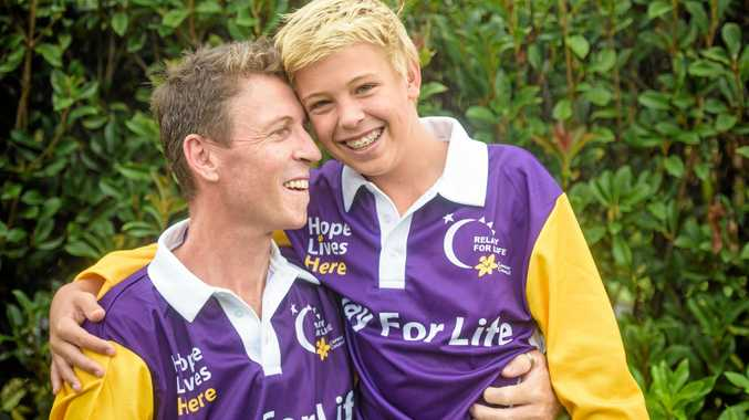 INSPIRING: Joel Ashby, 14 with his dad John Ashby who is his inspiration for taking part in the upcoming Lower Clarence Relay For Life.
