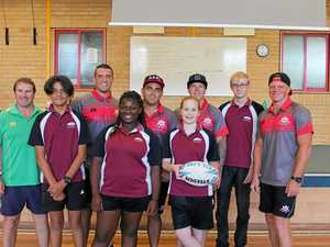 ON THE BALL: NRL Regional Development officer Garry Stevenson, Toormina High School students and Australian Army Thunder players PTE Joshua Calcagno, SPR Luke Skipper, PTE Tim Zaichenko, and LCPL Christopher O'Shannessy.