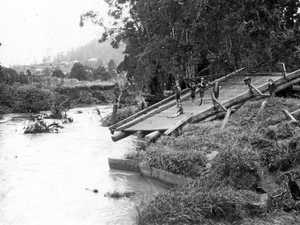 Petrie Creek traffic bridge washed away by floodwaters in February 1928.