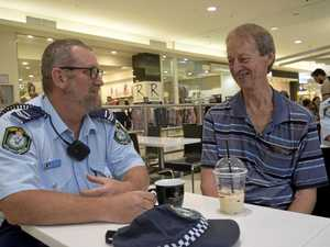 COFFEE WITH A COP: Grafton Senior Constable Paul Johnston enjoys a chat with Swan Creek local Bob Green.