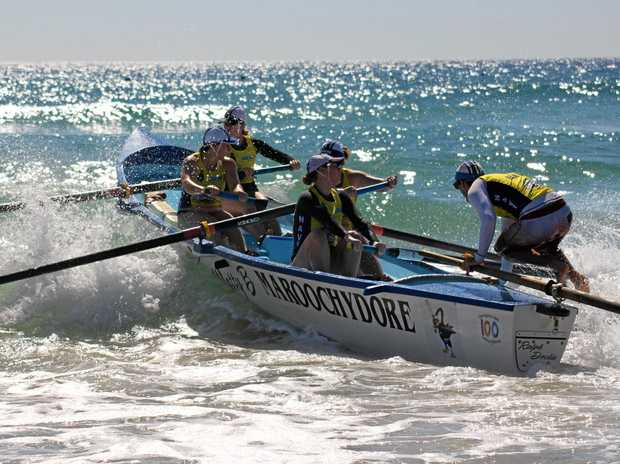 IN ACTION: A Maroochydore crew navigates the surf.