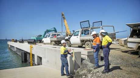 Workers construct the $8.5m Marine Offloading Facility.
