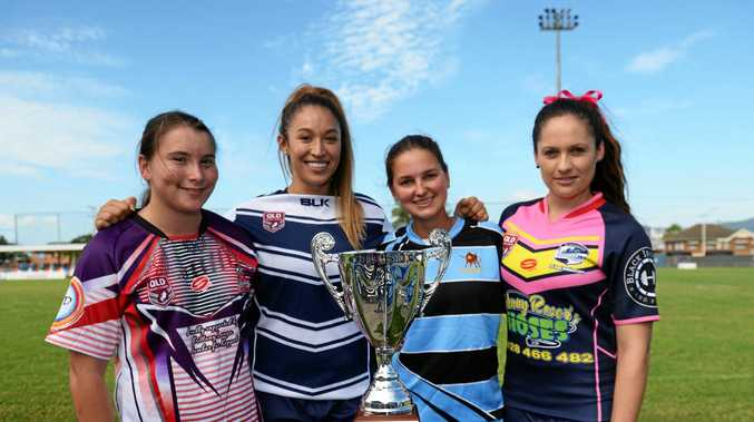 The womens team representatives (from left) Sarah Field from the Emu Park Emus, Meagan Rickertt from Rockhampton Brothers, Amber Carsburg from Norths Chargers and Miranda Baker from the Blackwater Crushettes.